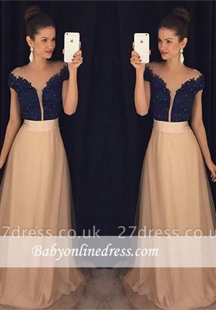 Gorgeous Cap-Sleeves Beaded Lace Tulle A-Line Prom Dress UKes UK AP0