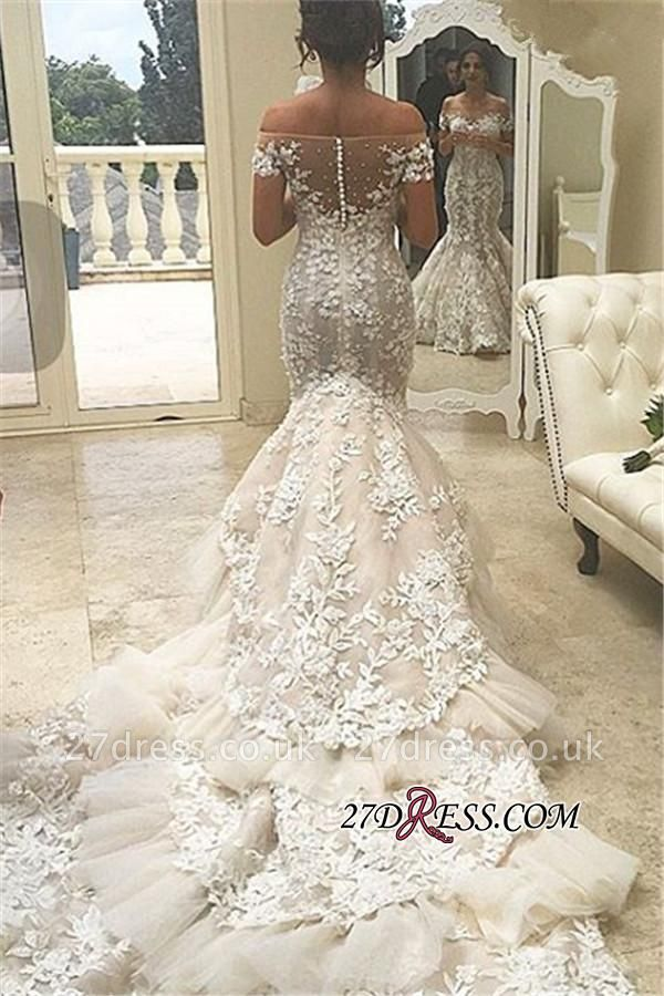 Tiered Sexy Mermaid Elegant Off-the-Shoulder Appliques Buttons Tulle Wedding Dress qq0226