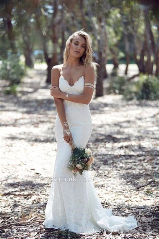 Spaghetti Strap Lace Wedding Dress Sexy Mermaid Open Back Sweep Train