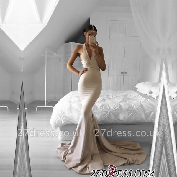 Halter Mermaid Long Elegant V-neck Sleeveless Prom Dress UK SP0309