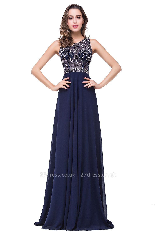 Modern Chiffon A-line Prom Dress UK Beadings Illusion Zipper