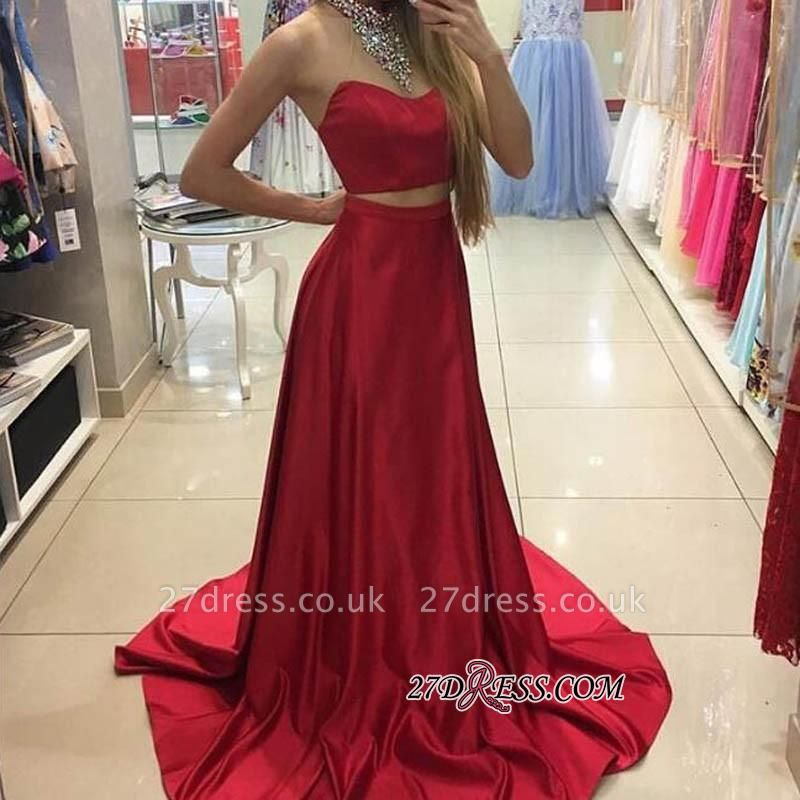 A-line Simple Sleeveless Long Red Two-Piece Prom Dress UKes UK
