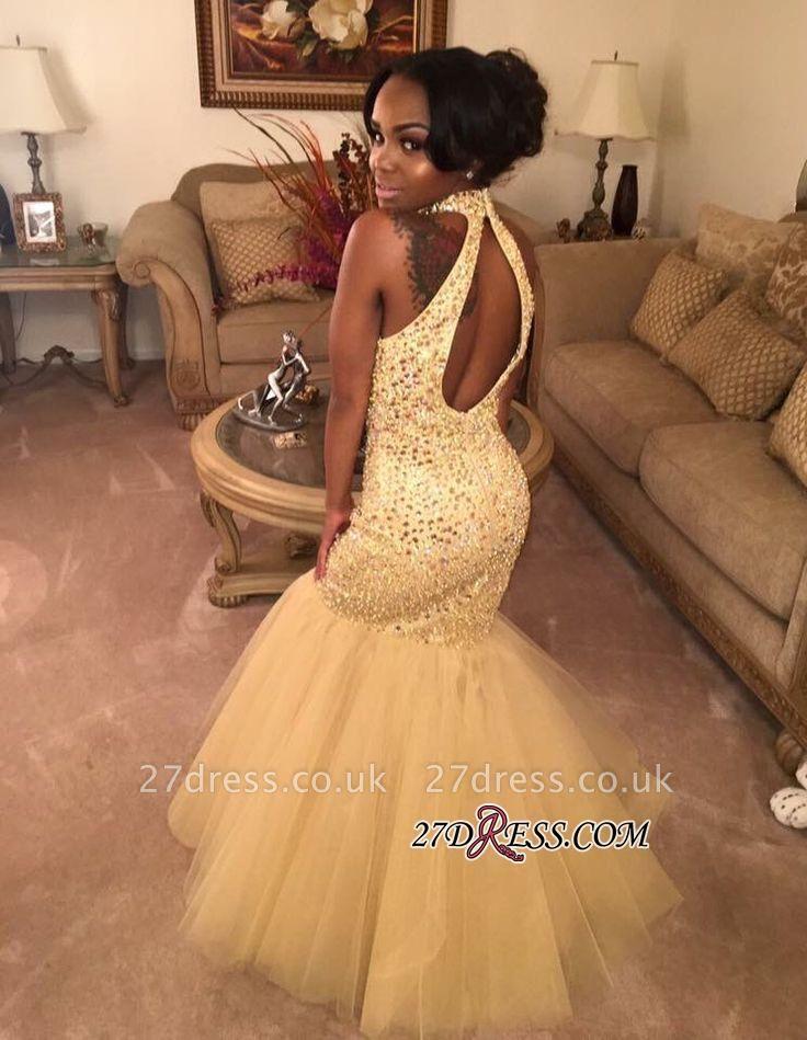 Mermaid Shiny Halter Sequins Open-Back Champagne-Gold Sleeveless Prom Dress UK BK0