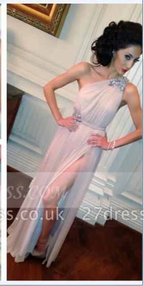 Sleeveless One Shoulder Side Slit Evening Dress UKes UK Crystal Sash Floor Length Prom Dress UKes UK