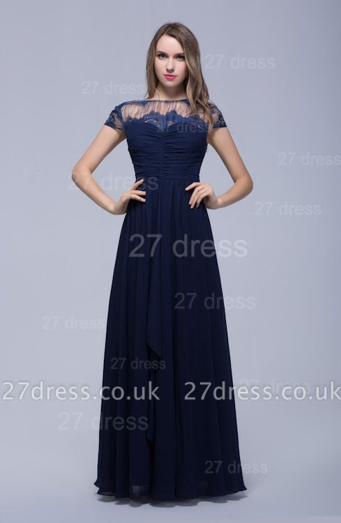 Modern Illusion Cap Sleeve Evening Dress UK Chiffon Lace Bowknot