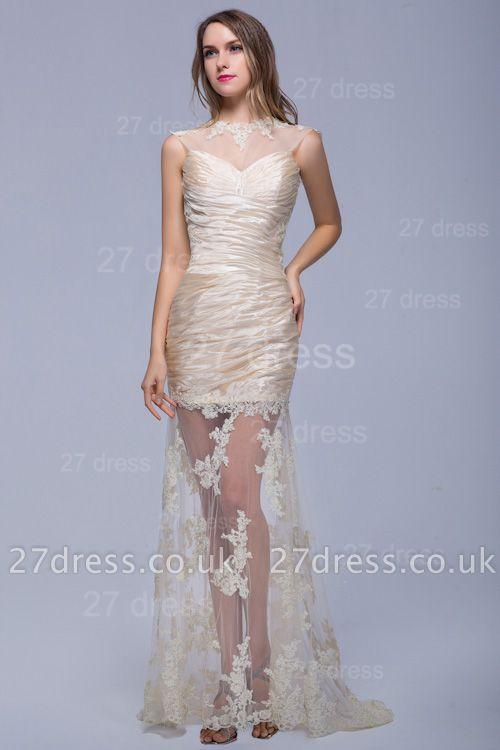 Elegant High Neck Lace Appliques Evening Dress UK Sweep Train