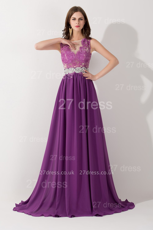 Newest Illusion Purple A-line Evening Dress UK Lace Appliques Beadings