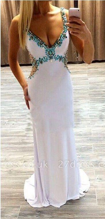 Gorgeous Beadings Crystal V-Neck Evening Dress UK Sleeveless Long Party Gowns