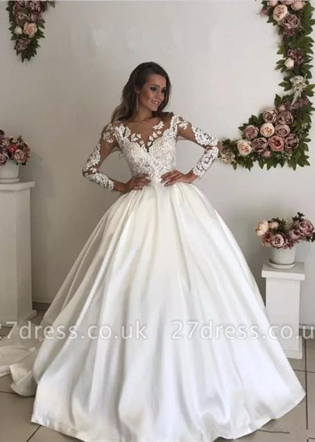 Chic Long Sleeve Lace Appliques Wedding Dress Ball Gown Zipper Button Back