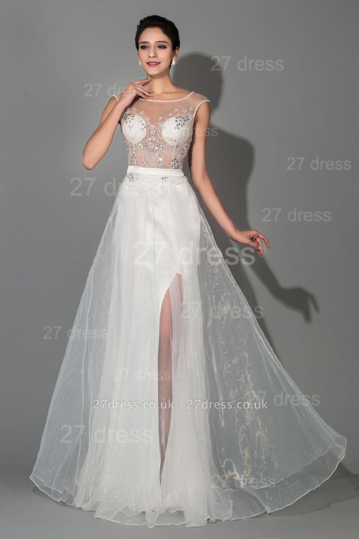 Elegant Cap Sleeve Evening Dress UK Front Split Crystals