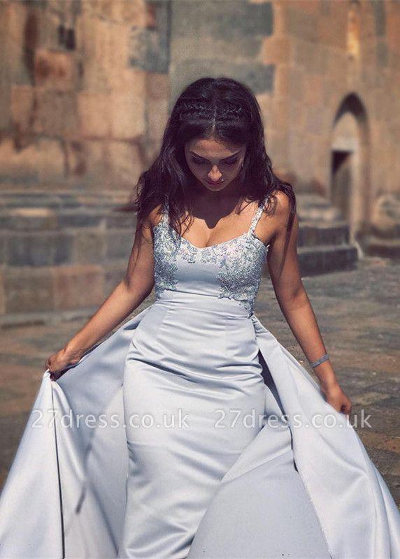 Luxury Sleeveless Straps Evening Dress UK Lace Appliques Mermaid With Ruffles