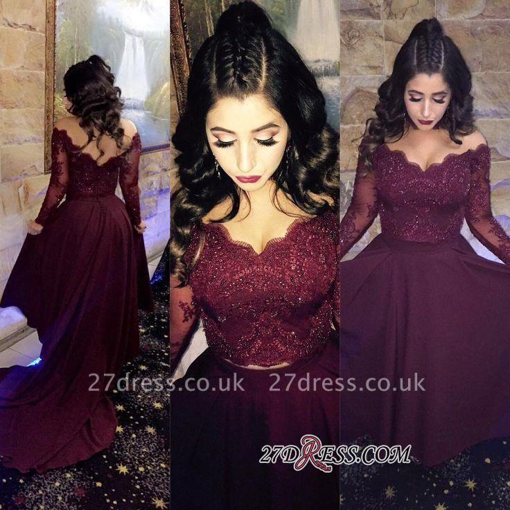Hi-lo Lace-Appliques Newest A-line Long-Sleeve Beads Prom Dress UK SP0308