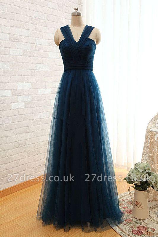 Sexy Sleeveless Evening Dress UK Long Tulle Floor Length