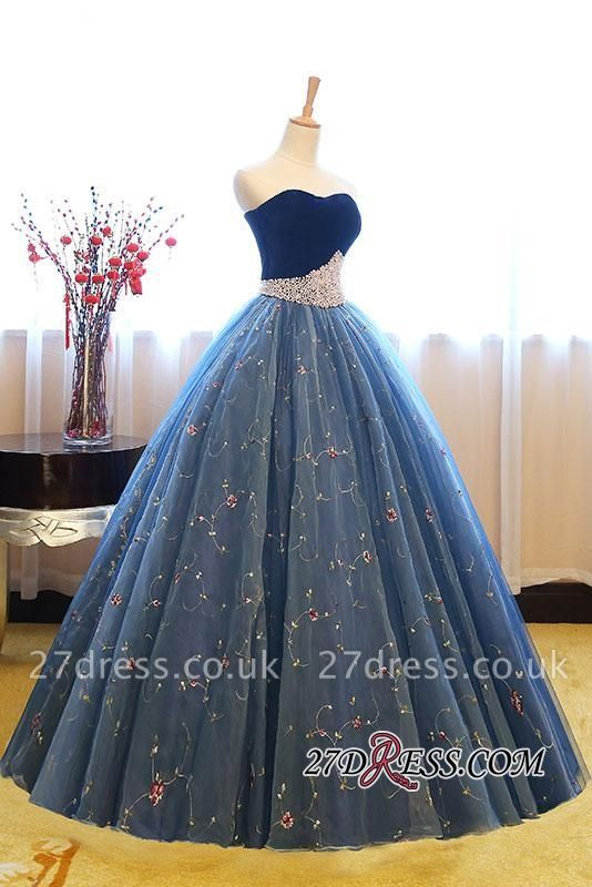 Sweetheart Embroidery Exquisite Pearls Puffy Prom Dress UKes UK Online