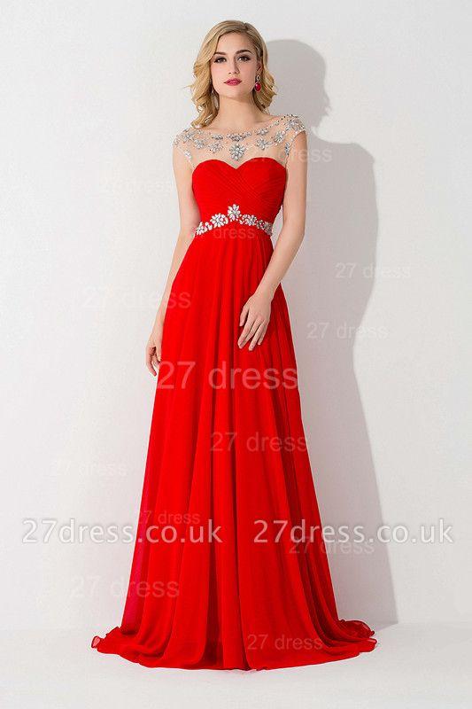 Sexy Chiffon Red Crystals Evening Dress UK A-line Illusion