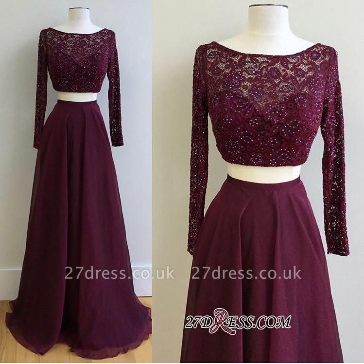 Long-Sleeve Burgundy Luxury Lace Two-Pieces Evening Dress UK PT0177