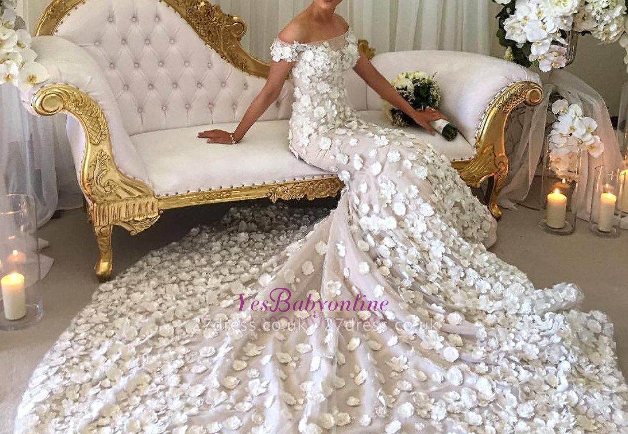 Long Appliques Sexy Mermaid Bridal Gowns | Off-the-Shoulder Wedding Dress