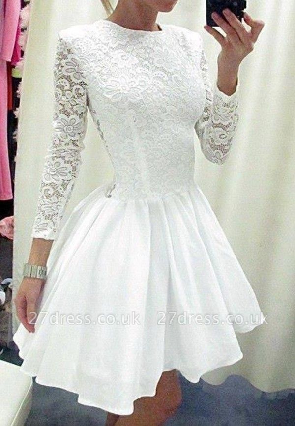 Modern Long Sleeve White Homecoming Dress UK lace Short prom Gowns TH019