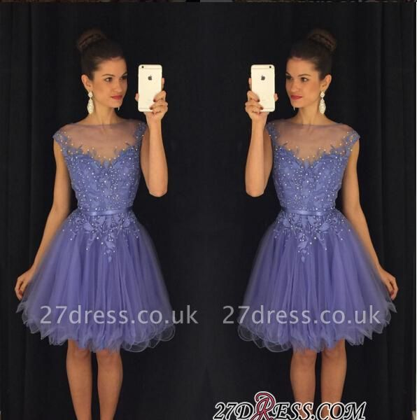 A-Line Beadings Cap-Sleeves Tulle Short Lavender Homecoming Dress UK AP0 BA3684