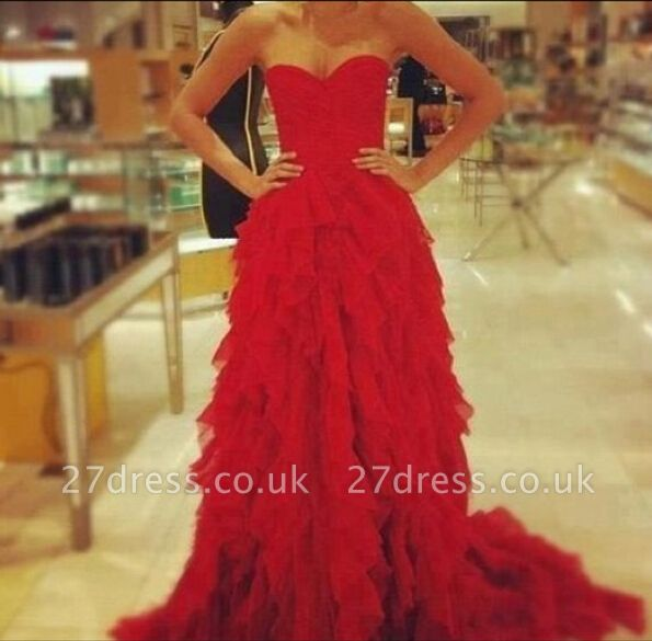 Red Sweetheart Ruffles evening party Dress UK