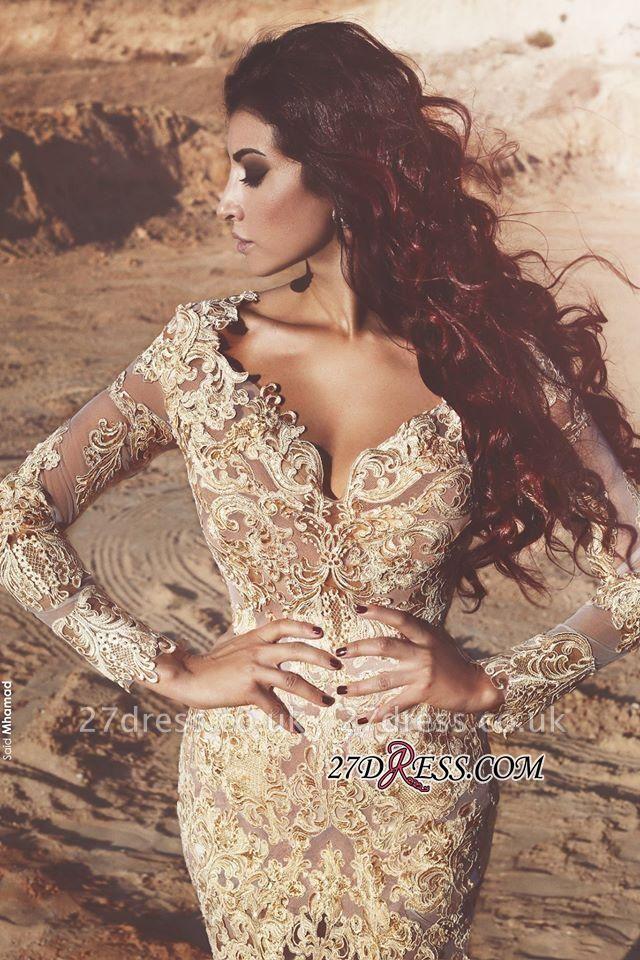 Mermaid Long-Sleeves Appliques Elegant Crystal Prom Dress UK BA4470