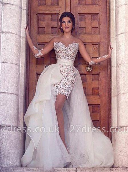 Luxury Long Sleeve Lace Appliques Prom Dress UKes UK Tulle Short Skirt MH309