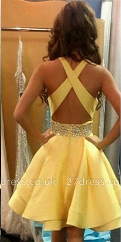 Lovely Yellow Criss-Cross Back Homecoming Dress UK Short Chiffon With Crystal