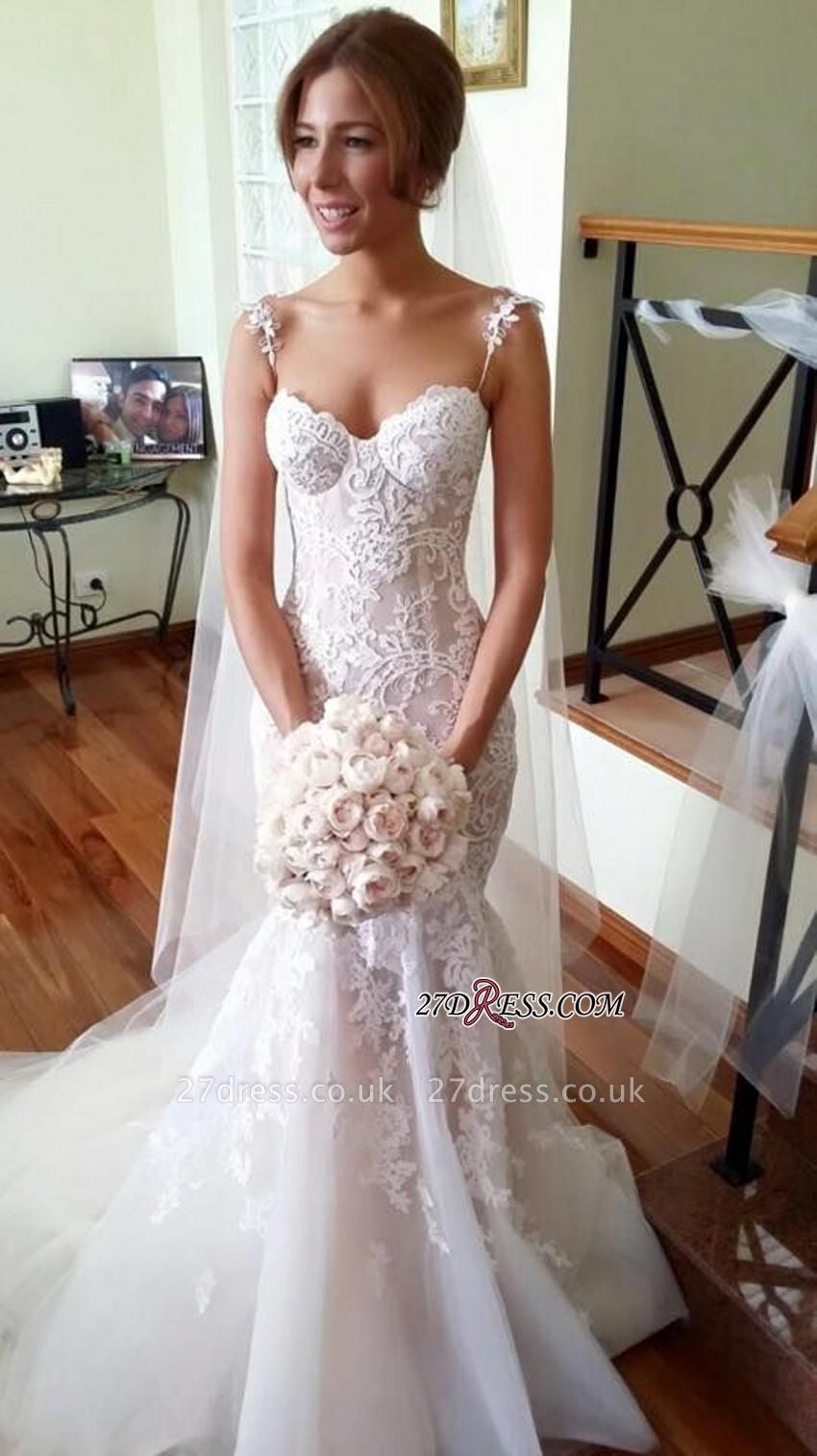 Tulle Spaghetti-Strap Sleeveless Applique Long Sexy Mermaid Wedding Dresses UK