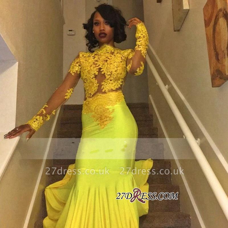 Appliques Long-Sleeve Yellow Lace High-Neck Beautiful Mermaid Prom Dress UK BK0