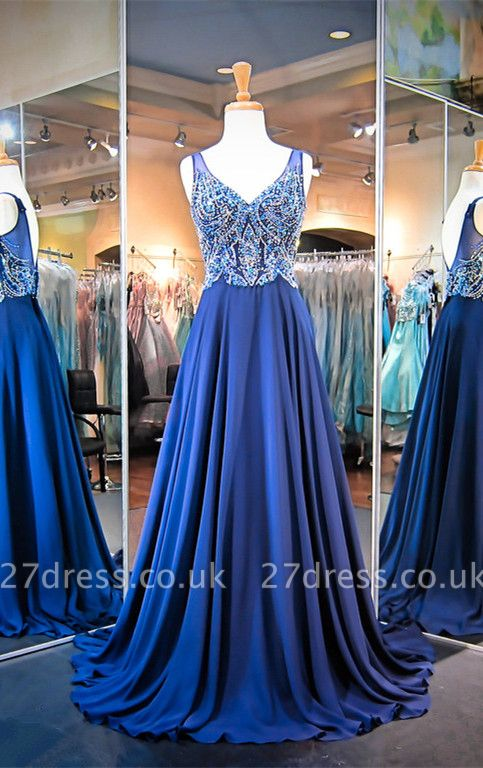Luxury A-line Crystals Straps Evening Dress UK Sleeveless Sweep Train