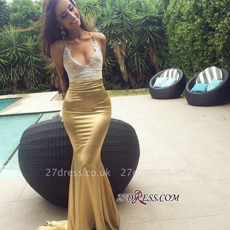 Elegant Sweep-Train Lace Mermaid Sleeveless Prom Dress UK