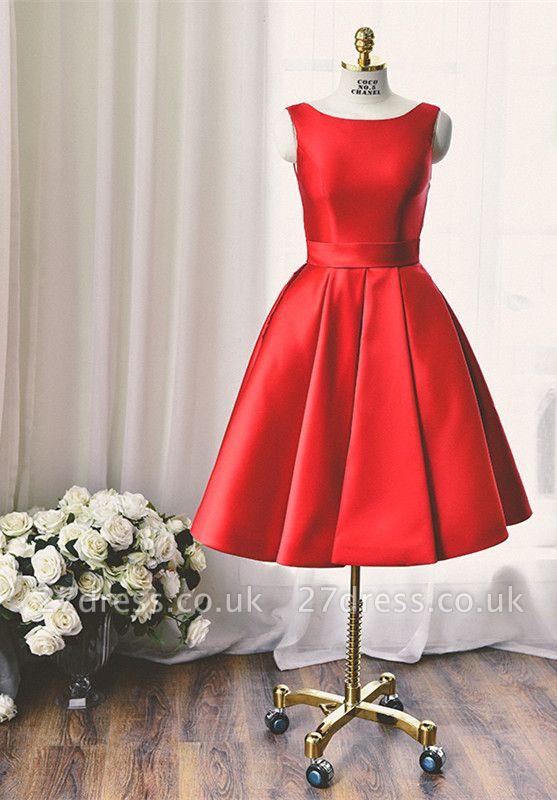 High Quality Bateau Red Short Homecoming Dress UK Bowknot