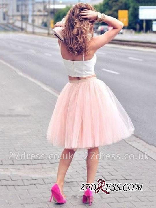 White Elegant Tulle Pink Spaghetti-Strap Sleeveless Two-Piece-Homecoming-Dress UK