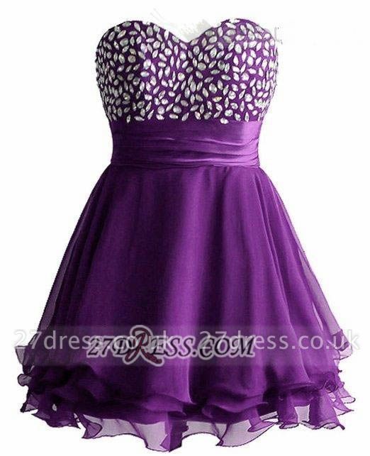 Sexy Sweetheart Sleeveless Short Homecoming Dress UK Crystals Lace-up Chiffon Purple Cocktail Gown