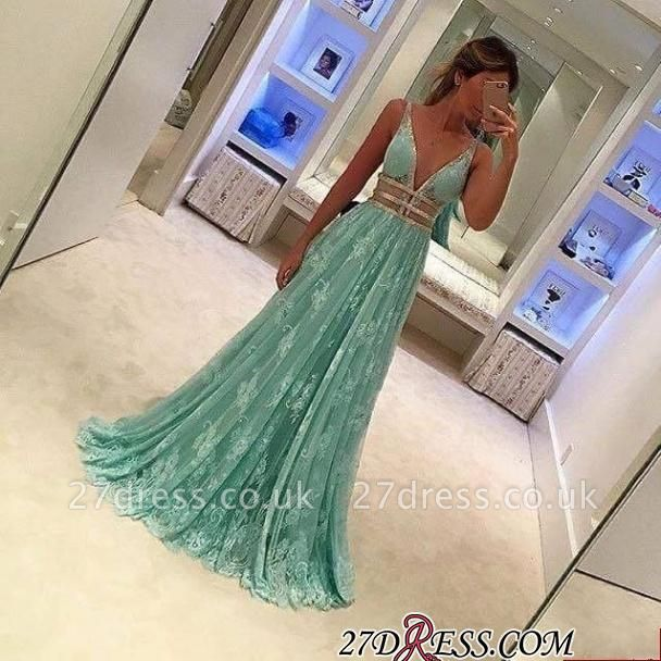 Lace Deep-V-Neck Mint-Green Sexy Sheer A-line Prom Dress UKes UK BA3969