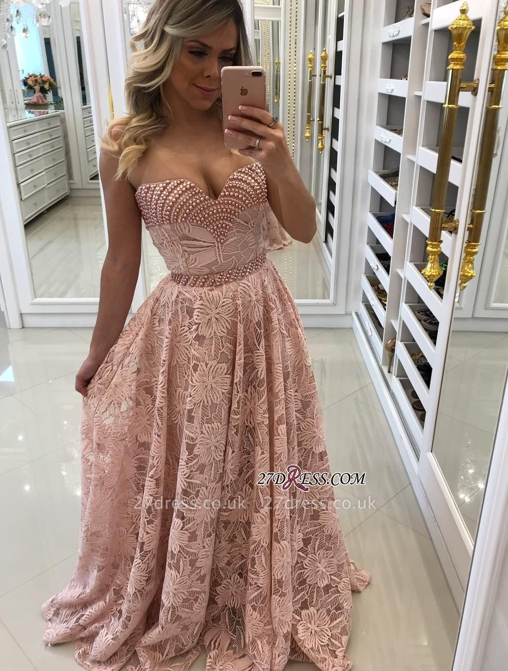 Pink pearls prom Dress UK, long alce evening Dress UK