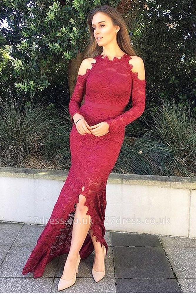 Luxury Long Sleeve Evening Dress UK | 2019 Mermaid Lace Prom Dress UK With Slit