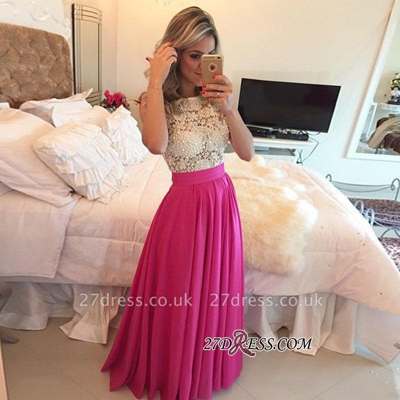 Beadings Newest Floor-Length Sleeveless Lace A-Line Prom Dress UK