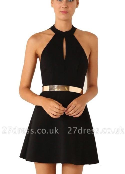 Elegant Black Halter Lace Sleeveless Homecoming Dress UK With Golden Sash