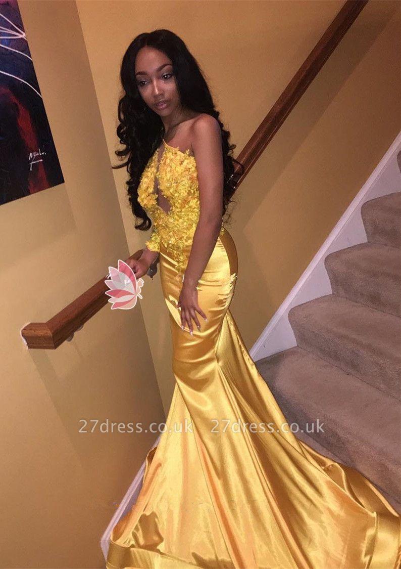 Modern Lace Appliques Mermaid Prom Dress UK | Elegant Prom Dress UK