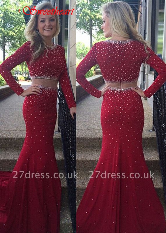 Gorgeous Long Sleeve Beadings Prom Dress UKes UK Burgundy Long Long Sleeve