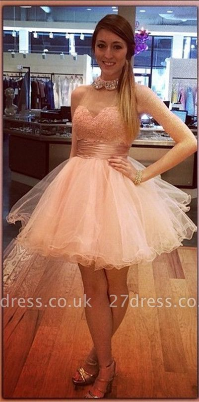 Bling Bling High-Neck Tulle Homecoming Dress UK Lace With Crystals