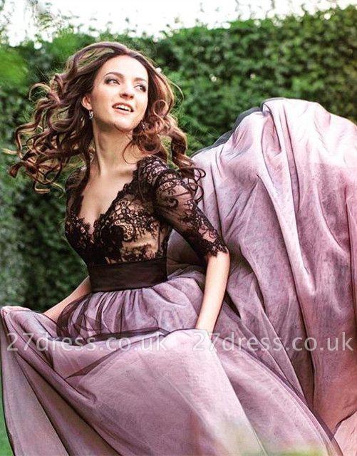 Gorgeous Half Sleeve Black Lace Evening Dress UK Tulle V Neck BA6916