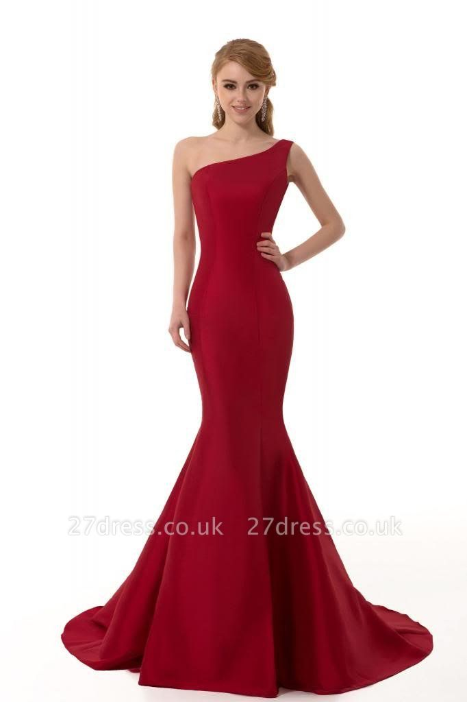 Elegant Burgundy One Shoulder Mermaid Prom Dress UK With Train