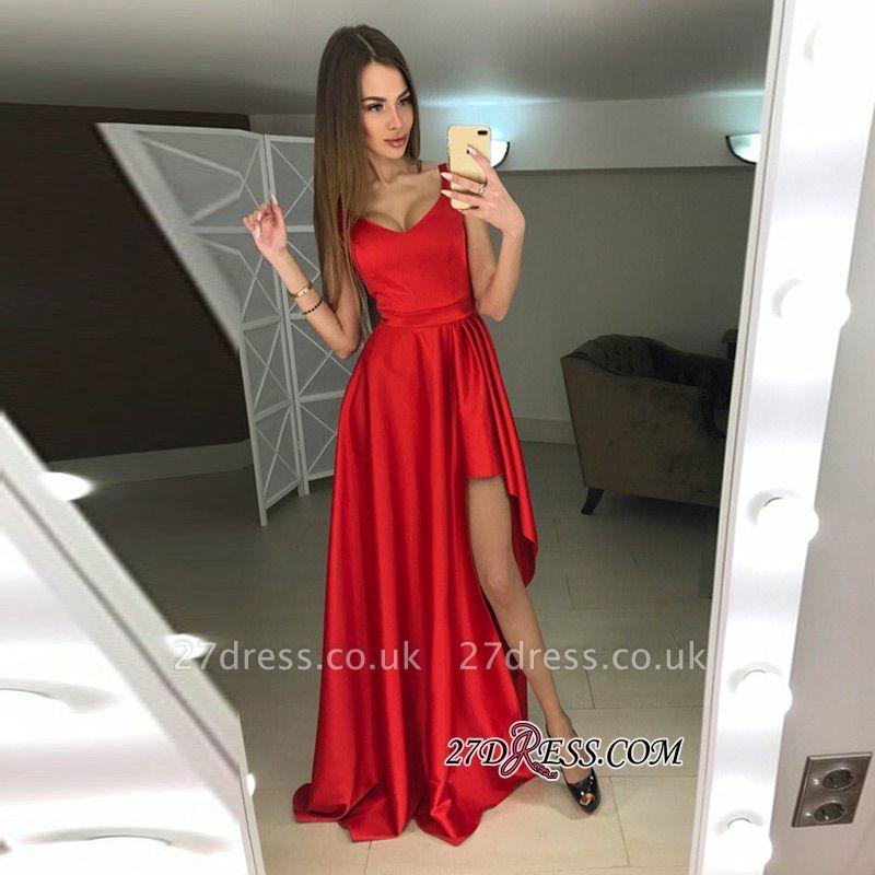 A-line Hi-Lo Sleeveless Red Modern Scoop Prom Dress UK