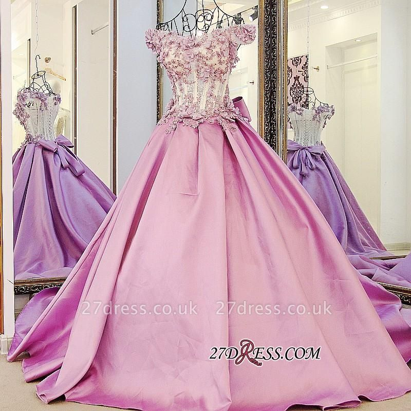 Off-the-Shoulder Puffy Beaded Applique Flowers Pink Prom Dress UKes UK With Bows