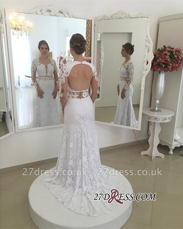 Lace Elegant Sexy Mermaid White Long-Sleeves Open-Back Appliques Wedding Dresses UK