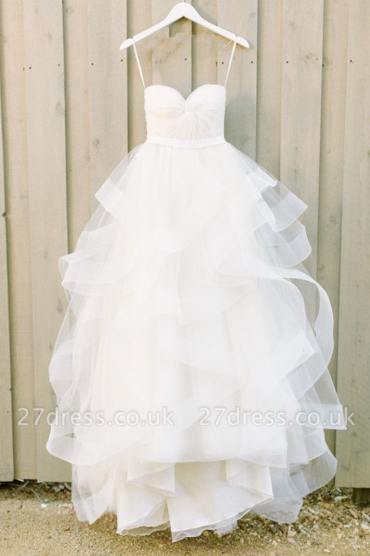 Elegant Sweetheart White Ruffles Wedding Dress With Tulle Online