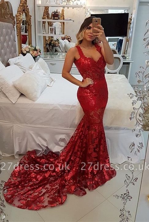 Modest Red Straps Mermaid Sweep Train Evening Dress UK | Lace Party Gown