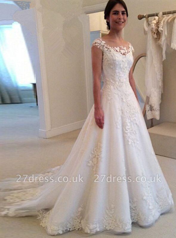Elegant Cap Sleeve Lace Appliques Wedding Dresses UK A-Line Zipper Button Bridal Gowns